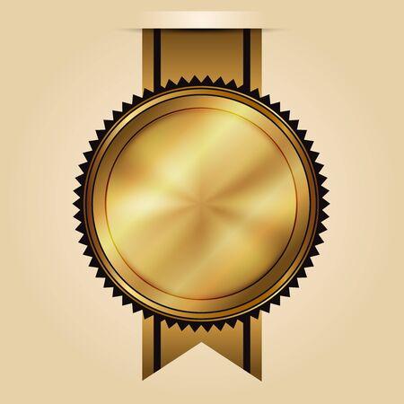 stamp seal: Vector illustration of gold seal Illustration