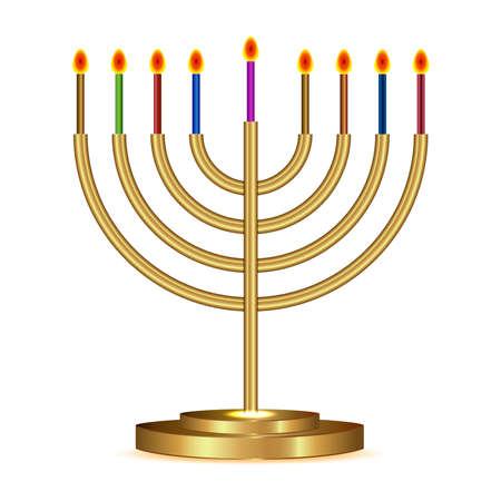 hanukkah menorah: Vector illustration of gold Hanukkah menorah