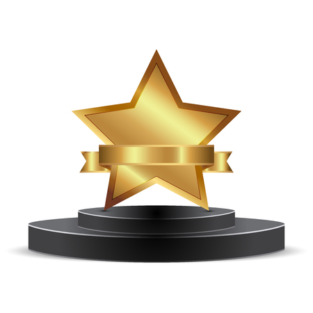 star award: Vector illustration of gold star award