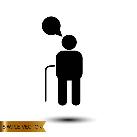 hunched: Vector illustration of An old man Icon
