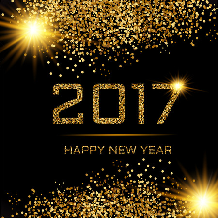 Vector illustration of happy new year 2017