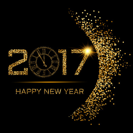 glisten: Vector illustration of Happy New Year gold Illustration