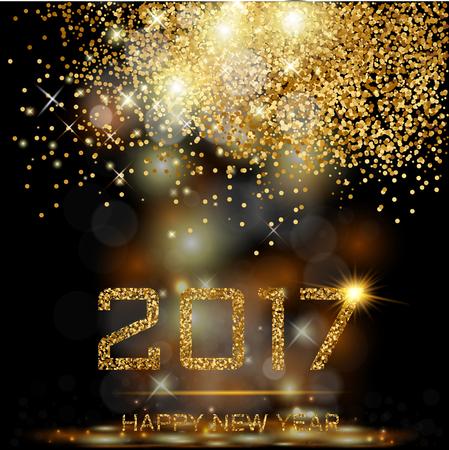 Gelukkig Nieuwjaar goud Stock Illustratie