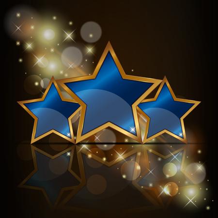 Vector illustratie van 3 blauwe ster. Stock Illustratie