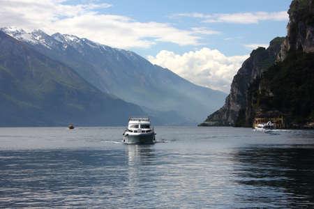 Garda Lake Ferry in May Stock Photo