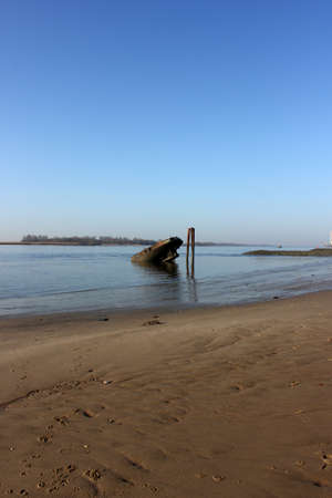 River Elbe with ancient ship wreck