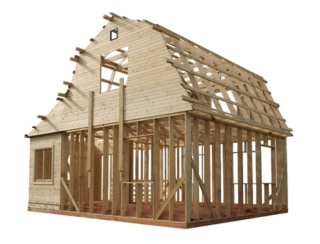 roof framework: Skeleton of a wooden house on a white background Stock Photo