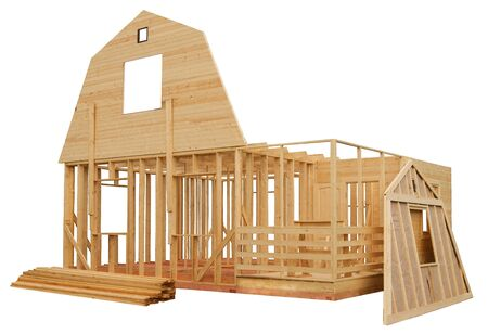 Skeleton of a wooden house on a white background photo