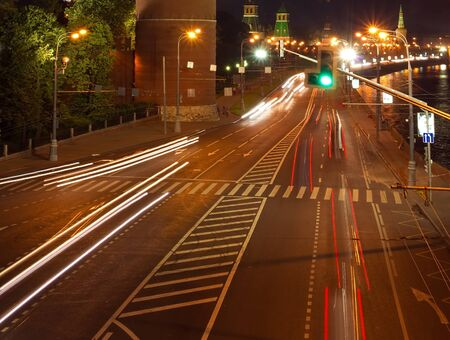 Moscow road near the Kremlin at night photo