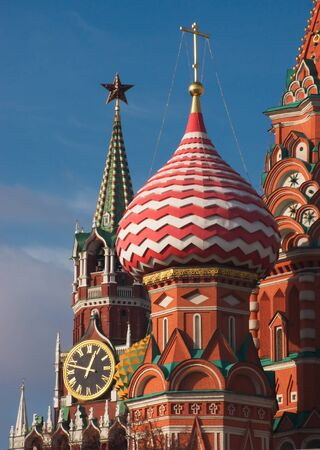 spassky: Domes of St. Basils Cathedral and the Kremlins Spassky Tower in Moscow