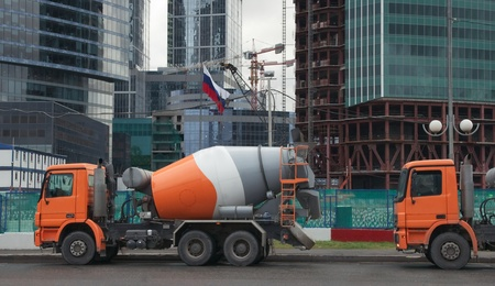Concrete trucks at a construction site in Moscow photo