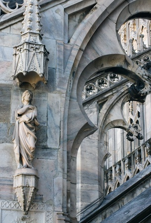 Fragment of of the architectural decoration of the Cathedral Duomo in Milan Stock Photo - 12372385