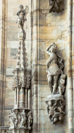 Fragment of of the architectural decoration of the Cathedral Duomo in Milan photo