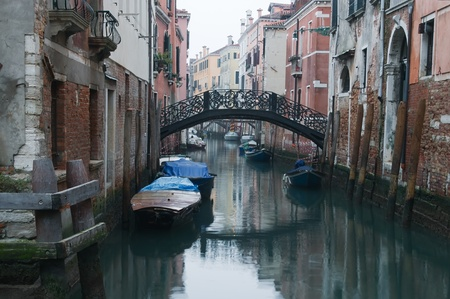 Venice. View of Venice Canal in winter twilight photo