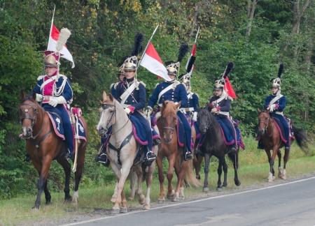 cavalry: Napoleonic cavalry time - Polish lancers. Historical reconstruction of the Battle of Borodino on holiday.