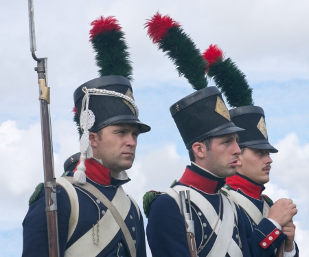 infantry: Historical reconstruction.  Soldiers of 9 Light Infantry regiment of Napoleon army at the festival of the Borodino battle