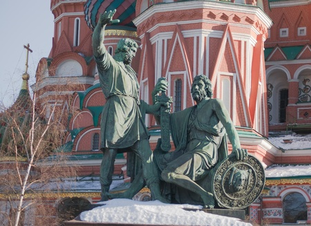 minin: Monument to Minin and Pozharsky in front of Saint Basils Cathedral in Moscow