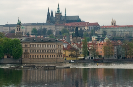 czech culture: View of Prague Castle in the spring cloudy day