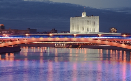 federation: Government building Russian Federation and Moscow river at night