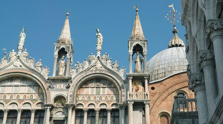 saint mark's: Sculptures and decoration of the Cathedral of San Marco in Venice on a sunny spring day