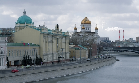 Sofia embankment in Moscow in early spring photo