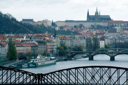 View of Prague and Prague Castle from the Visegrad late autumn Editorial