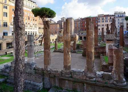 Roman ruins on the Plaza Torre Argentino in Rome