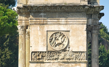 Bas-reliefs and sculptures on the triumphal arch of the Constantine emperor in Rome