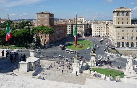 venice: Altar of the Fatherland and Venice Square in Rome on a clear autumn day