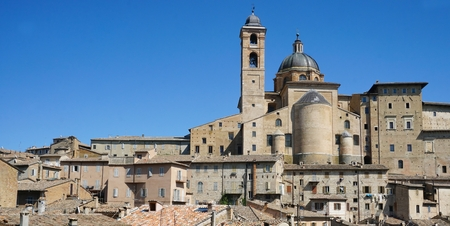 Panoramic view of the ancient city of Urbino in Italy in the Marche region