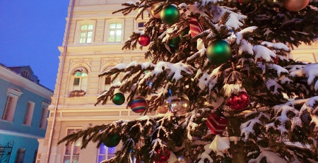 Elegant Christmas tree on Arbat street in Moscow