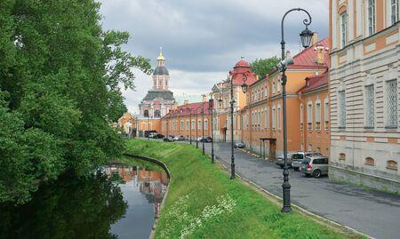 Embankment of the Monastyrka River in the Alexander Nevsky Lavra in St. Petersburg
