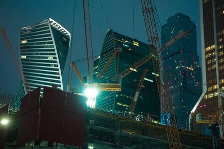View of the construction site of office buildings in the Moscow business center in the early winter morning