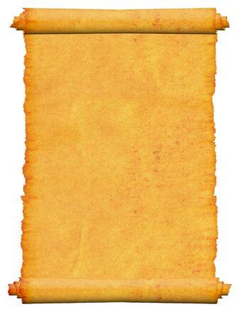 Blank scroll manuscript. Isolated. photo