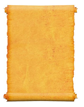 burnt edges: Blank. An old roll of papyrus, on a white background. Stock Photo
