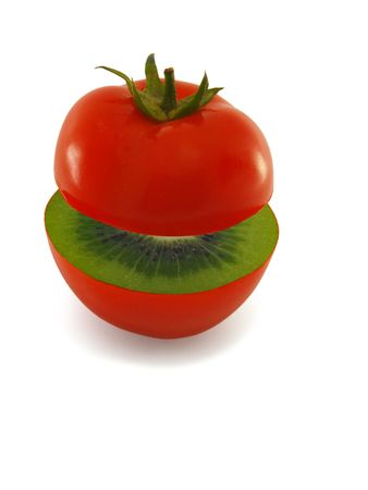 Ripe red tomatoes inside a kiwi, isolated Stock Photo - 7237718
