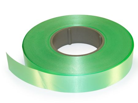 Roll green packaging ribbons. On a white background.       photo