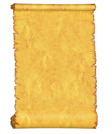 uneven edge: Blank. An old roll of papyrus. On a white background.