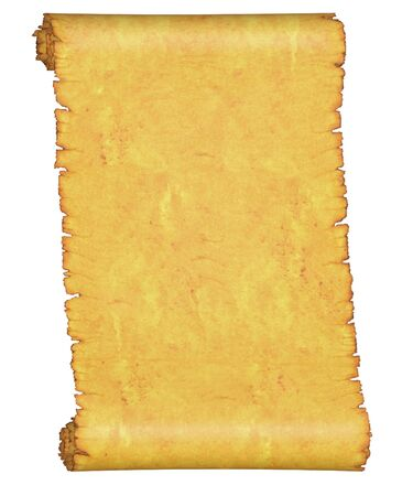 Blank. An old roll of parchment. On a white background. Stock Photo - 7359661