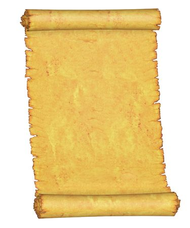 Blank. An old roll of parchment. On a white background. Stock Photo - 7359969