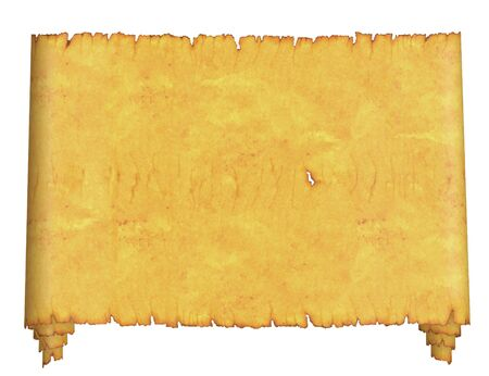 Blank. An old roll of parchment. On a white background. Stock Photo - 7360055