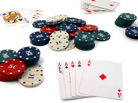 Playing cards and chips to play poker. On a white background. Stock Photo - 8154846