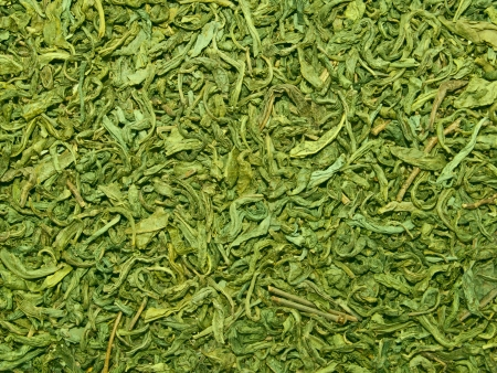 dried herb: Green Chinese tea. Texture.