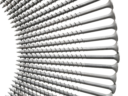 Building laid out like a fan screws. Isolated on white. photo