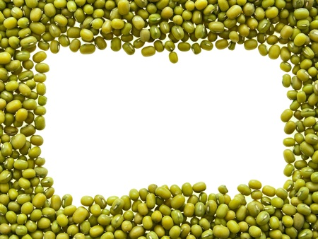 Frame from green mung beans. Isolated on white. photo