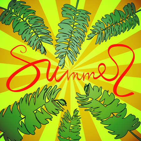Inscription summer on a yellow background with palm leaves. Vector illustration calligraphy