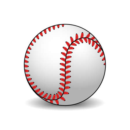 Isilated vector illustration of leather baseball ball on white background with shadow. Decoration for greeting cards, posters, patches, prints for clothes, emblems. Ilustração