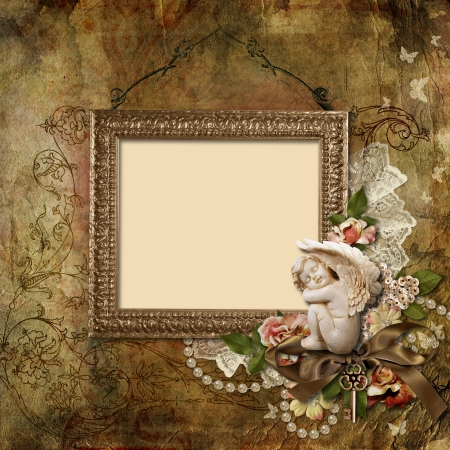 rose photo: Vintage background with frame and angel  Stock Photo