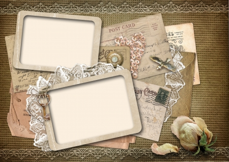 Vintage background with old frames with space for photo or text  photo