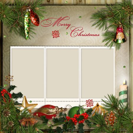 hristmas: Сhristmas greeting card with frames for a family